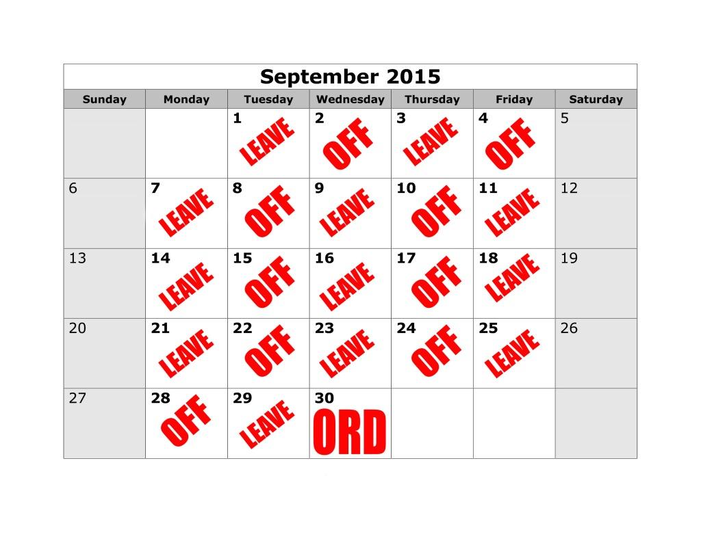 ORD calendar